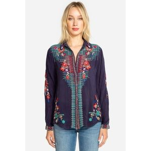 Johnny Was Plaid Embroidered Button Front Blouse